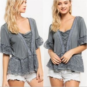 POL Lace Up Floral Charcoal 1/2 Sleeve Top Blouse